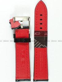 czarny pasek skórzany z czerwonym przeszyciem, spód